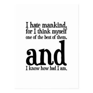I Hate Mankind Postcard