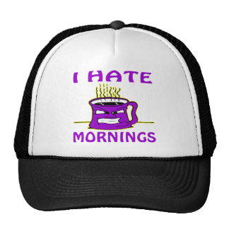 I Hate Mornings Angry Coffee Cup Hats