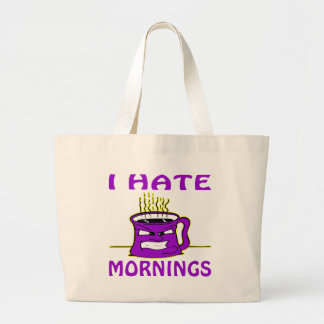I Hate Mornings Angry Coffee Cup Tote Bags