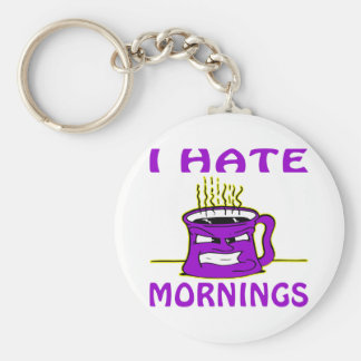 I Hate Mornings Angry Coffee Cup Key Chain