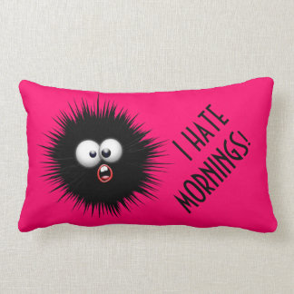 I hate mornings throw pillow