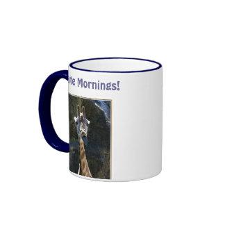 I Hate Mornings, Giraffe Sticking Tongue Out Ringer Coffee Mug