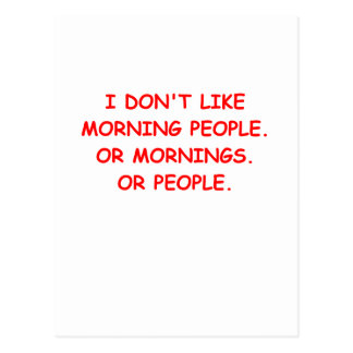 i hate mornings postcard