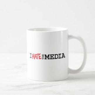 I hate the Media (red hate) Mug, Travel, Stein Basic White Mug