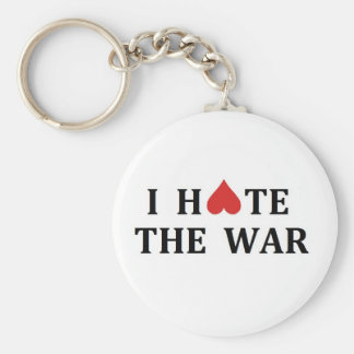 I hate the war basic round button key ring
