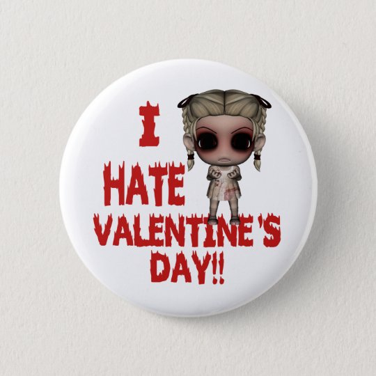 i hate valentines day emo punk girl 6 cm round badge