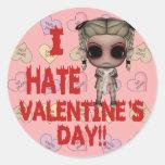 i hate valentines day emo punk girl round stickers