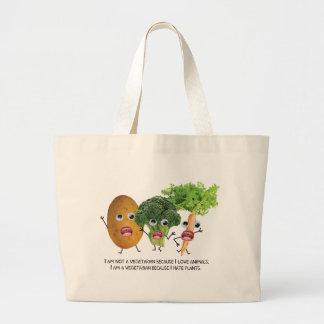 I hate veggies :) large tote bag