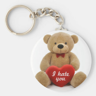 """""""I hate you"""" cute teddy bear holding love heart Basic Round Button Key Ring"""