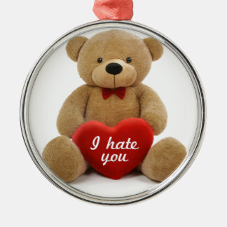 """I hate you"" cute teddy bear holding love heart Christmas Ornament"
