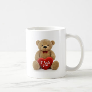 """I hate you"" cute teddy bear holding love heart Coffee Mug"