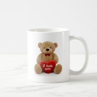 """""""I hate you"""" cute teddy bear holding love heart Basic White Mug"""