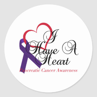 I Have A Heart Pancreatic Cancer Awareness Round Sticker
