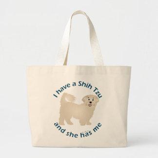 I Have A Shih Tzu Large Tote Bag