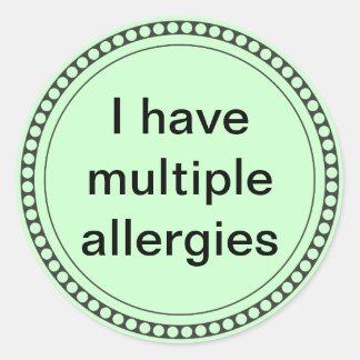 I have multiple allergies round sticker