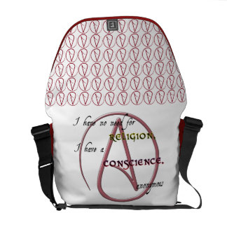 I Have No Need for Religion with Atheist Symbol Commuter Bag