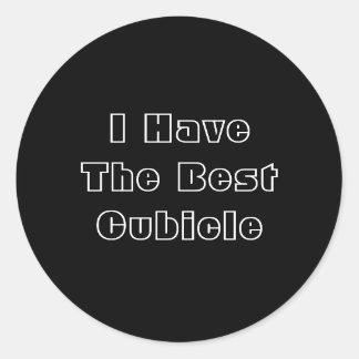 I Have The Best Cubicle. Black White Custom Round Sticker