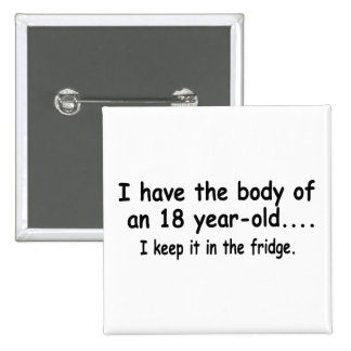 I Have The Body Of An 18 Year Old I Keep It In The 15 Cm Square Badge