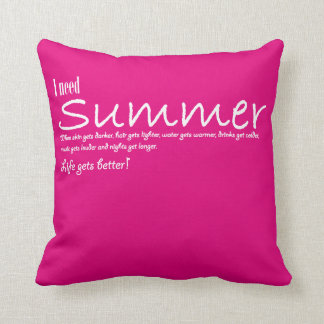 I have to summer necessary quote kiss pink blank throw pillow