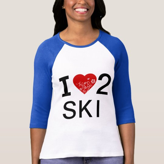i HEART 2 SKI -- Heart tattoo design on back T-Shirt