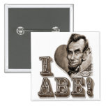 I Heart Abe Lincoln 15 Cm Square Badge