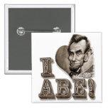 I Heart Abe Lincoln 15 Cm Square Badge