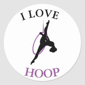 I heart aerial hoop classic round sticker
