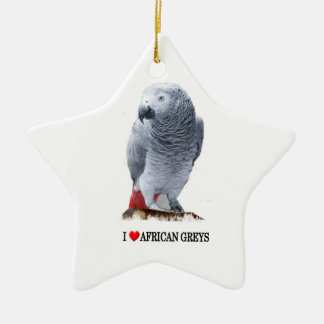 I heart African greys Christmas Ornament