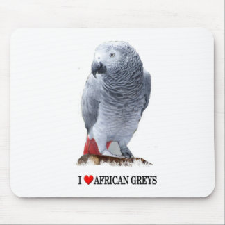 I heart African greys Mousepads