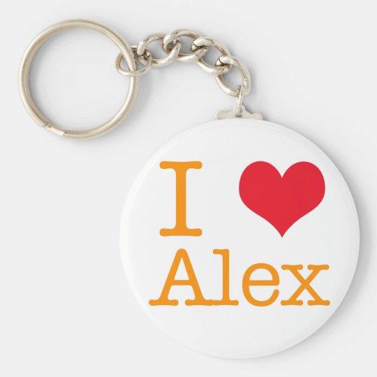 I Heart Alex Basic Round Button Key Ring
