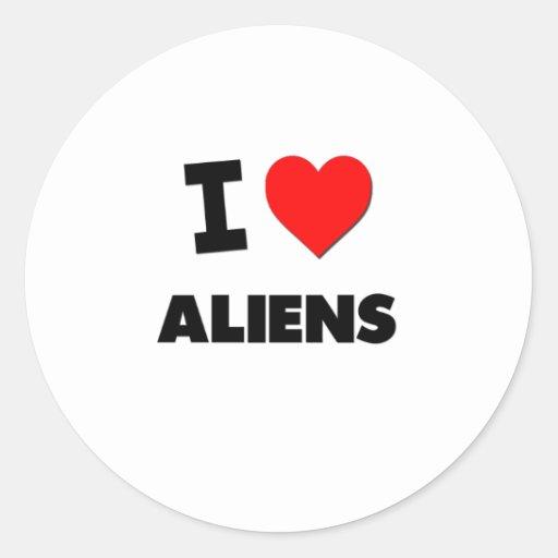 I Heart Aliens Round Sticker