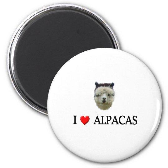 """I """"heart"""" alpacas 6 cm round magnet"""