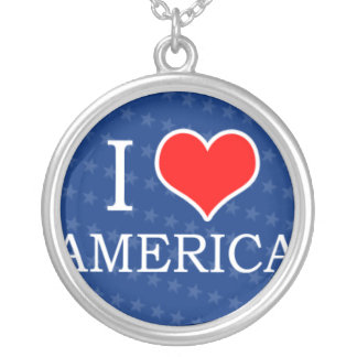 I Heart America Silver Plated Necklace