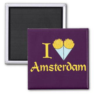 I Heart Amsterdam Square Magnet