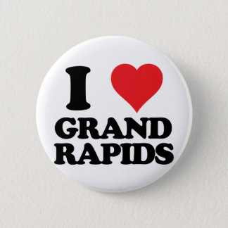 i heart and love grand rapids, michigan 6 cm round badge