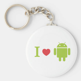 I heart Android Basic Round Button Key Ring