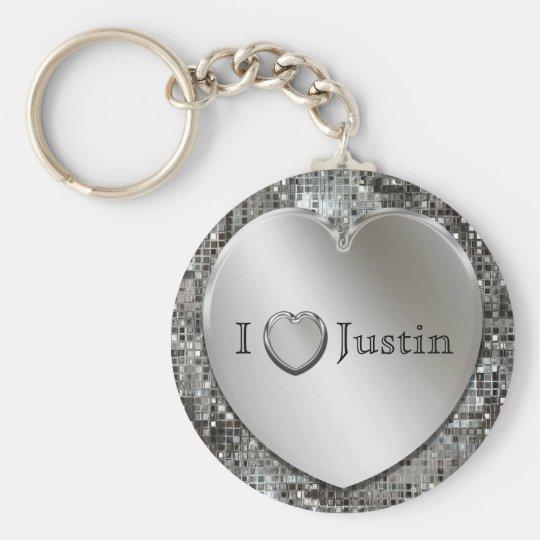 I Heart...Any Name Silver Heart Keychain