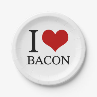 I Heart Bacon Paper Plate