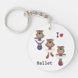 I Heart Ballet Bear Ballerina's Single-Sided Round Acrylic Keychain
