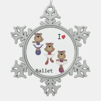 I Heart Ballet Bear Ballerina's Pewter Snowflake Decoration
