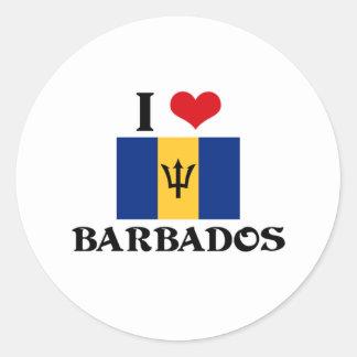 I HEART BARBADOS CLASSIC ROUND STICKER