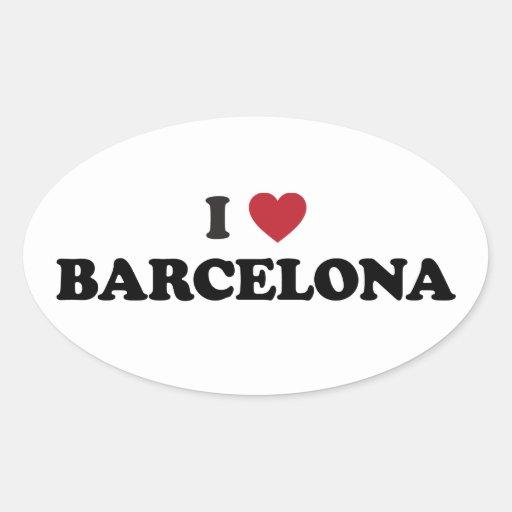 I Heart Barcelona Spain Oval Sticker