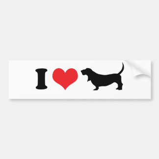 I Heart Basset Hounds Bumper Sticker