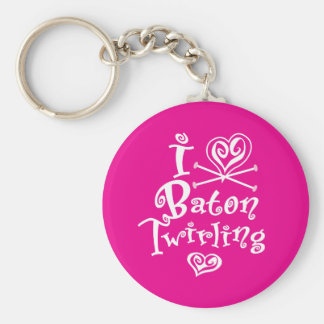 I Heart Baton Twirling Basic Round Button Key Ring