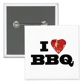 I Heart BBQ, Funny Beef Steak Grill 15 Cm Square Badge
