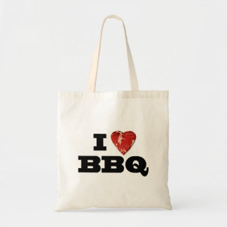 I Heart BBQ Funny Beef Steak Grill Tote Bags