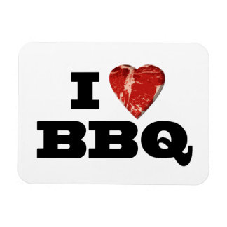 I Heart BBQ, Funny Beef Steak Grill Magnets
