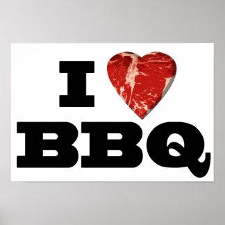 I heart BBQ, Steak Heart Shape Funny Grilling Poster