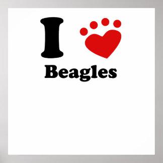 I Heart Beagles Poster