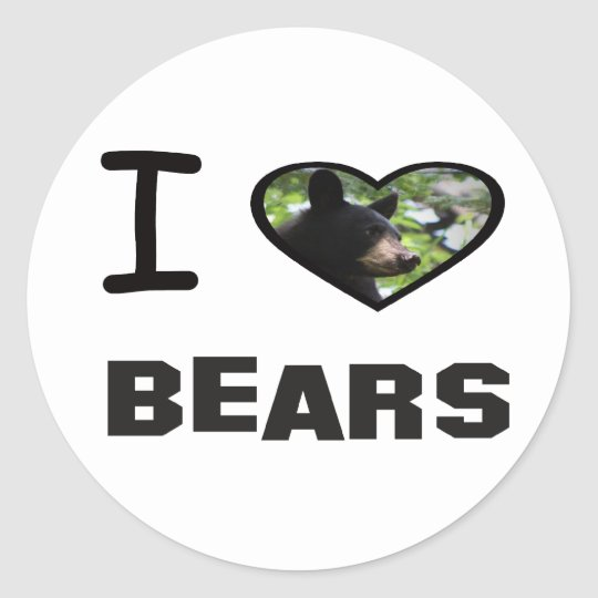 I Heart Bears Classic Round Sticker